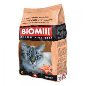 Biomill Cat Classic Salmon Полноценный корм для привередливых кошек от 8 недель (с норвежским лососем и дичью), 1 кг.