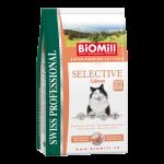 Biomill Selective Salmon Корм Биомилл для взрослых привередливых кошек (с норвежским лососем, индейкой и курицей) для возбуждения аппетита, 0,5 кг