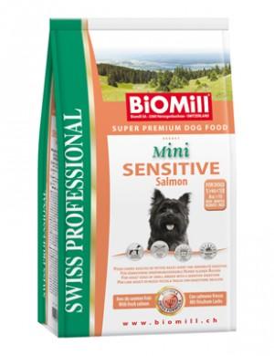 Biomill Mini Sensitive Salmon and Rice Корм Биомилл для привередливых и проблемных собак мелких и карликовых пород, 1 кг.
