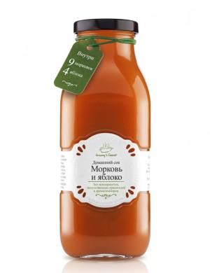 """Сок из смеси овощей и фруктов «Морковь и яблоко» восстановленный """"Granny's Secret"""", 700 мл."""