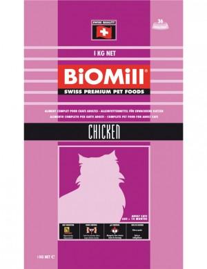 Biomill Cat Classic Chicken Полноценный корм с курицей для кошек от 8 недель, 1 кг.