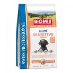 Biomill Maxi Sensitive Salmon and Rice Корм Биомилл для привередливых и проблемных собак с аллергией на все виды мяса (с лососем), 12 кг.