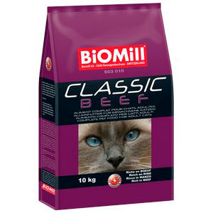 Biomill Cat Classic Beef Полноценный корм Биомилл с говядиной для кошек от 8 недель, 1 кг.