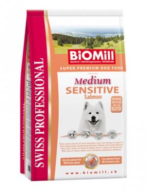 Biomill Professional Medium Sensitive Salmon Корм Биомилл для привередливых и проблемных собак с аллергией на все виды мяса, 12 кг.